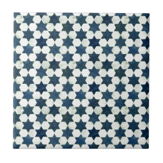 Blue Moroccan Star Pattern Small Square Tile