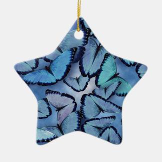 Blue Morpho Butterflies Christmas Ornament