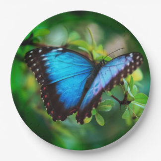 Blue Morpho Butterfly 9 Inch Paper Plate