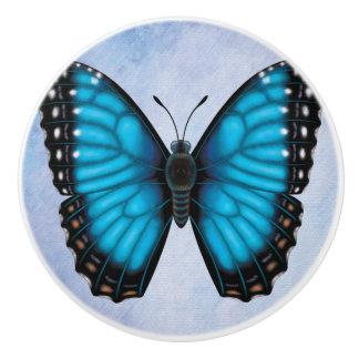 Blue Morpho Butterfly Ceramic Knob