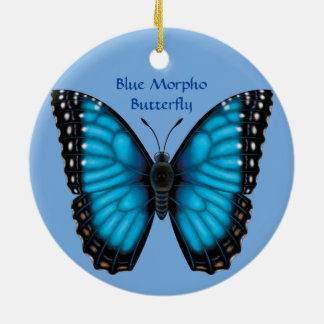 Blue Morpho Butterfly, Dorsal and Ventral Christmas Ornament