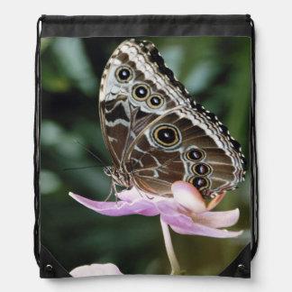 Blue Morpho Butterfly Drawstring Bag