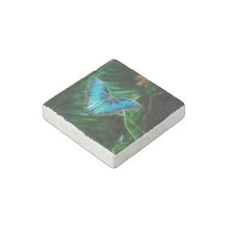Blue Morpho Butterfly Fractal Stone Magnet