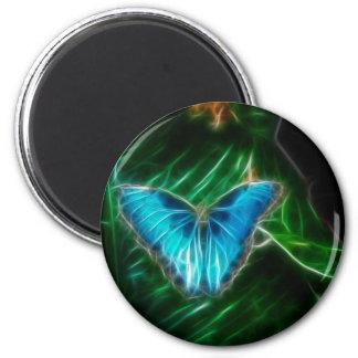 Blue Morpho Butterfly Fractal Refrigerator Magnets