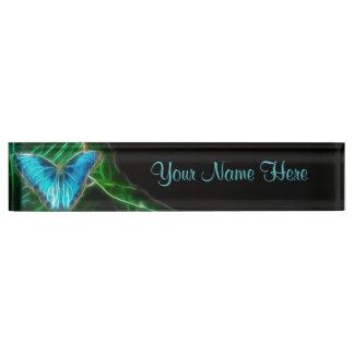 Blue Morpho Butterfly Fractal Nameplate