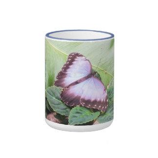 Blue morpho butterfly ringer mug