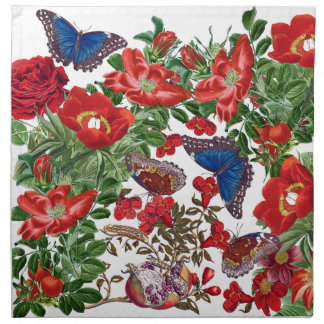 Blue Morpho Butterfly Roses Flowers Cloth Napkins
