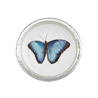 Blue Morpho Butterfly silhouette Photo Ring