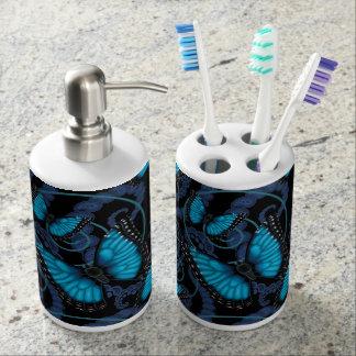 Blue Morpho Butterfly Soap Dispenser And Toothbrush Holder