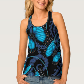 Blue Morpho Butterfly Swirls Tank Top