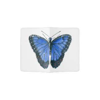 Blue Morpho butterfly watercolor painting Passport Holder