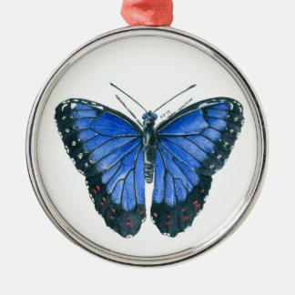 Blue Morpho butterfly watercolor painting Silver-Colored Round Decoration