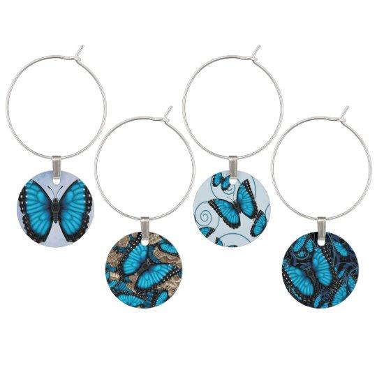 Blue Morpho Butterfly Wine Charm