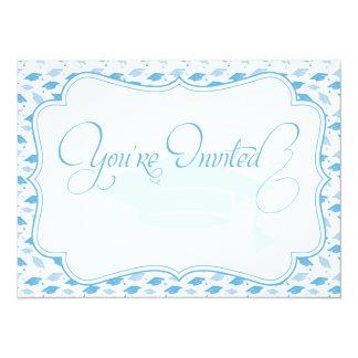 Blue Mortar Board Elegant Graduation Invitation