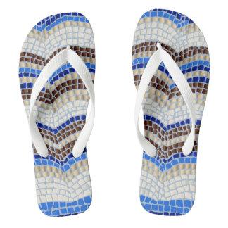 Blue Mosaic Adult Wide Straps Flip Flops