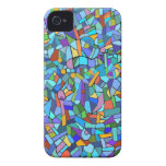 Blue Mosaic Decorative Pattern iPhone 4 Cover