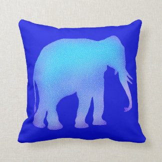 Blue Mosaic Elephant Throw Pillow