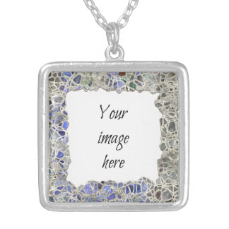 Blue Mosaic Frame Silver Plated Necklace