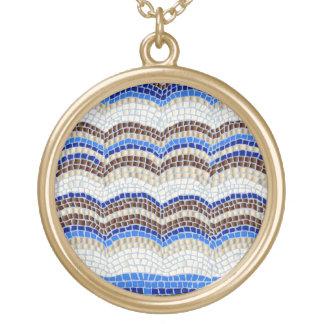 Blue Mosaic Large Round Necklace