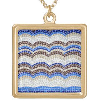 Blue Mosaic Large Square Necklace