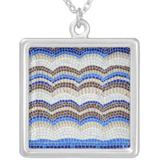 Blue Mosaic Large Square Necklace