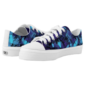 Blue mosaic low-tops printed shoes