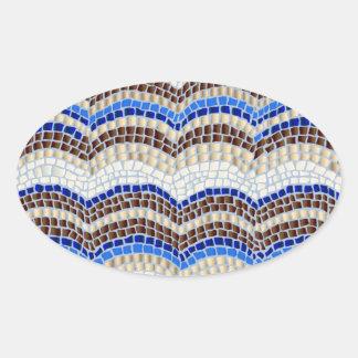 Blue Mosaic Matte Oval Sticker