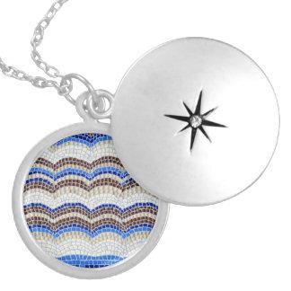 Blue Mosaic Medium Round Locket
