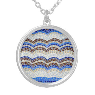 Blue Mosaic Medium Round Necklace