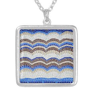 Blue Mosaic Medium Square Necklace