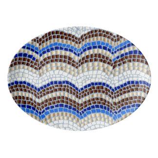 Blue Mosaic Porcelain Platter Porcelain Serving Platter