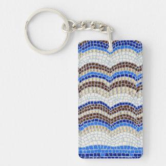 Blue Mosaic Rectangle Single-Sided Keychain