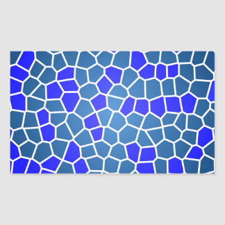 Blue Mosaic Rectangular Sticker