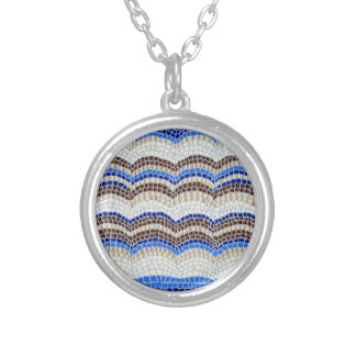Blue Mosaic Small Round Necklace