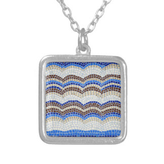 Blue Mosaic Small Square Necklace