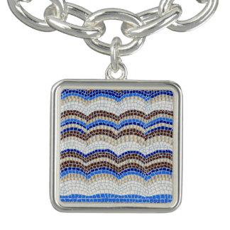 Blue Mosaic Square Charm Bracelet