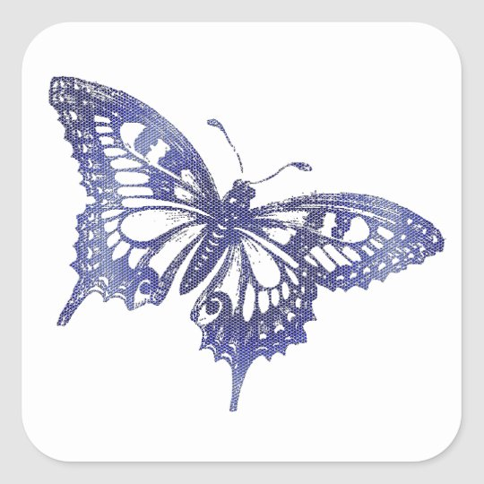 Blue Mosaic Stained Glass Butterfly Square Sticker