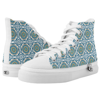 Blue Mosaic Tiles Printed Shoes