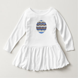 Blue Mosaic Toddler Ruffle Dress