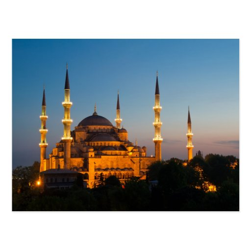 Blue Mosque at twilight Postcard
