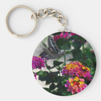 Blue Moth on Flower Basic Round Button Key Ring