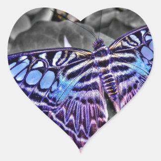 Blue Moth Heart Stickers