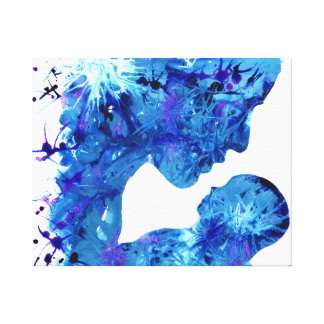 Blue Mother & Child Acrylic Abstract Art Design Canvas Print