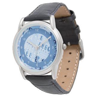 Blue Motherboard Modern Pattern Watch