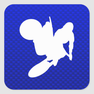 Blue Motocross Whip Square Sticker