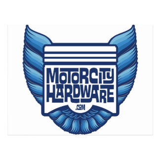 Blue Motor City Hardware Bird Logo Postcard