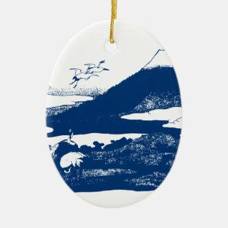 Blue Mount Fuji Christmas Ornament