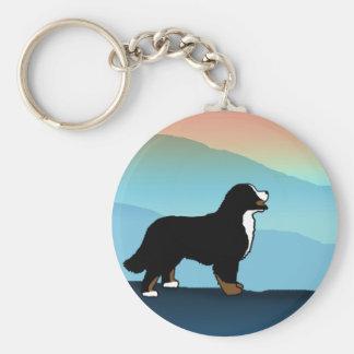 Blue Mountain Bernese Dog Basic Round Button Key Ring