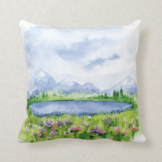 Blue Mountain Lake - Watercolor Art Throw Pillow