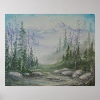 Blue Mountain River Landscape Poster